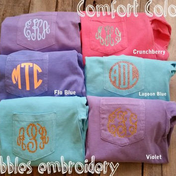 Long Sleeve Glitter Monogram Comfort Colors Shirts w/pocket Vinyl Monogram Glitter