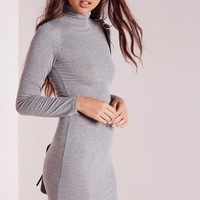 Missguided - Curve Hem Roll Neck Bodycon Dress Grey Marl