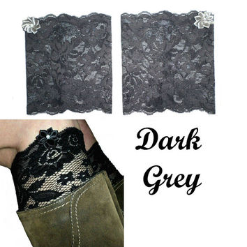 Dark Grey Floral Scalloped Stretch Lace Satin Rhinestone Peek a Boo Boot Cuffs Lacey Boot Cuffs Boot Toppers