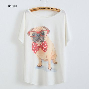 2016 New Summer Women's plus size loose tops blouse glasses women Perky Pug bowknot batwing Short sleeve T-shirt designer tee