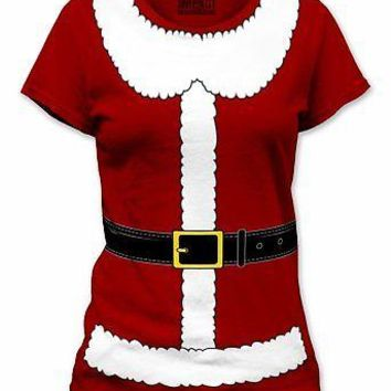 Mrs. Santa Claus Suit Cosplay Christmas Holiday Womens Junior T-Shirt - Red - S