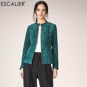 ESCALIER Women Genuine Leather Jackets Casual Pigskin Plus Size Outerwear Green Long Sleeve Women Basic jacket Coats