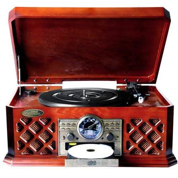 Bluetooth Vintage Classic-Style Turntable Record Player with CD & Cassette Players, AM/FM Radio & Built-in Speakers