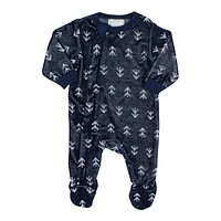 Coccoli Baby Boys' Licorice Zipper Velour Footie