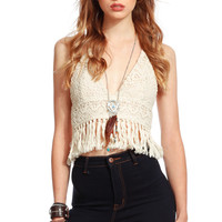 Ivory Crochet Halter Neck Crop Top