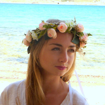 Light pink,white flower crown, floral headpiece fascinator,  romantic, festival, lana del rey, elegant roses white , ivory