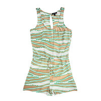 Silk Zebra Open-Back Romper
