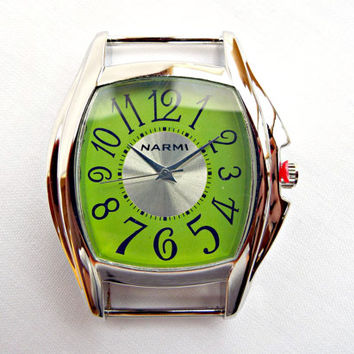 Green Face Watch, Silver and Green Watch Face, Watch Making Supply, UK Seller, Chunky Watch Face, Solid Bar Green Square Watch Face Jewelry