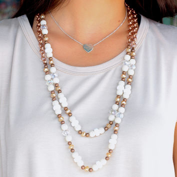 Pearls + Bronze Double Layer Necklace
