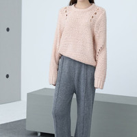 Baby Pink Knitted Oversized Sweater