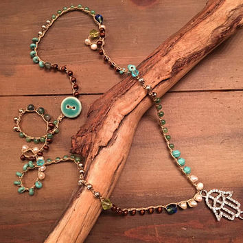 Long Layering Boho Crochet Beaded Necklace - Natural Stone, Wood, Metal and Freshwater Pearl - Hamsa Pendant - Evil Eye Protection - Peace