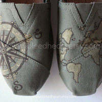 Custom Painted TOMS Shoes - Travel Compass and World Map Gold and Brown on Olive Green - Adult