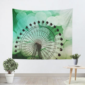 Green Blue Ferris Wheel Tapestry