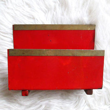 Vintage Metal Desk Envelope Office Organizer Mail Sorter Letter Holder