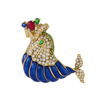 David Webb Enamel Emerald Ruby Sapphire Diamond Gold Dolphin Brooch