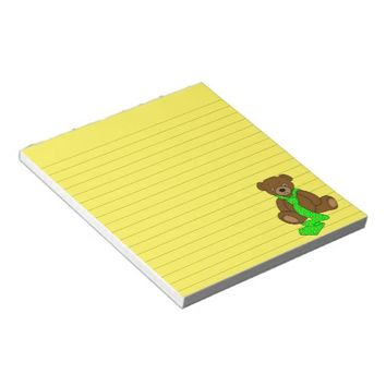 Teddy Bear in Neck Tie Art Graphic Print Note Pad