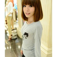 Women Autumn New Style Simple Long Sleeve Grey Cotton T-shirt One Size @WH0367g $7.99 only in eFexcity.com.