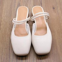 Handmade Soft Leather Simple Square Toe Sandals Low Heels White/Grey