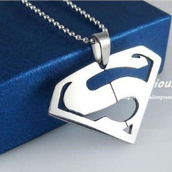 Superman Pendants Necklaces For Men And Women,High Quality 316L Stainless Steel Jewelry, (Color: Silver) = 1946858116
