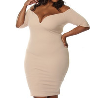 Off The Shoulder Plus Size Bodycon Dress