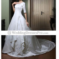 Ball Gown Scoop Half-Sleeve Court Train Satin Wedding Dress with Split Front (TBGWD058) [TBGWD058] - $184.99 : wedding fashion, wedding dress, bridal dresses, wedding shoes
