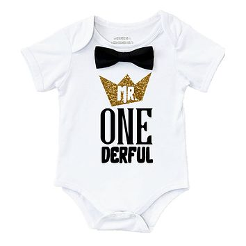 Mr Onederful First Birthday Outfit Black and Gold with Suspenders Bow Tie