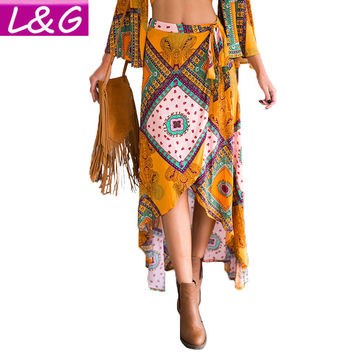 New 2016 Summer Style Asymmetrical Long Maxi Women Skirt Vintage Tribal Floral Print Boho Skirts Womens Ropa Mujer 70065