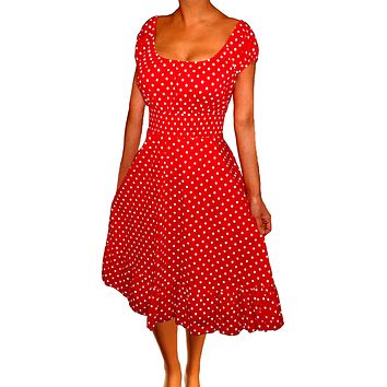 Funfash Plus Size Women Polka Dots Rockabilly Retro Cocktail Dress Made in USA