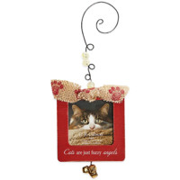 CR Gibson Wood Frame Cat Angels Christmas Ornament in Red