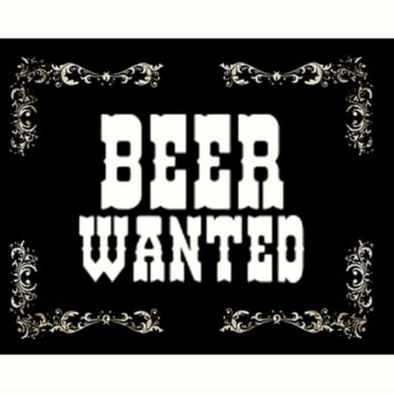'Beer Wanted, wild wild west' Art Print by cool-shirts