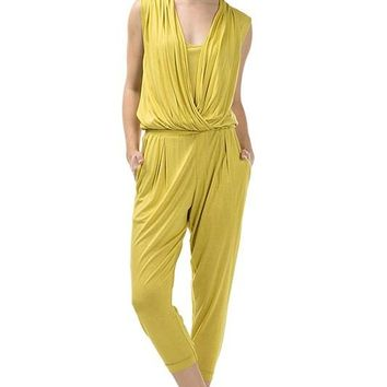 Draped Jumpsuit With Elastic Waistband