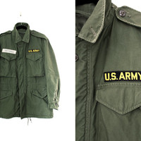 Vintage 1950's-60's Army Military M51 Jacket - US Army Jacket - Green Army Jacket - Size Regular Small