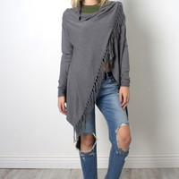 Decker Eclipse Fringe Cardi - Grey