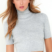 Glamorous Pep Right Up Grey Turtleneck Crop Top