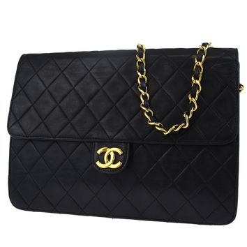 Auth CHANEL CC Logos Quilted Chain Shoulder Bag Leather Black Vintage 57L333