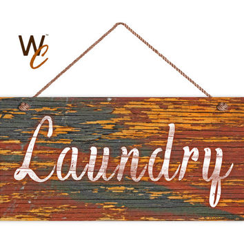 "Laundry Sign, Distressed Wood Style, Orange and Gray, Wall Art, Cleaning Sign, Laundry Room, Weatherproof, 5"" x 10"" Sign, Made To Order"