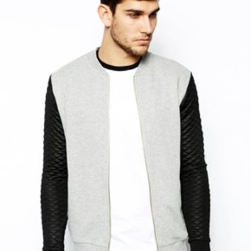 ASOS Bomber In Jersey With Quilted Sleeves