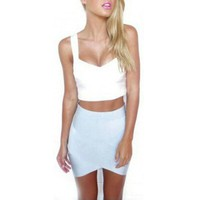 Lady Synthetic Fiber Hem Bandage Party Asymmetrical Skirt Fitted Wiggle Slim Pencil Mini Skirt Y8664 new