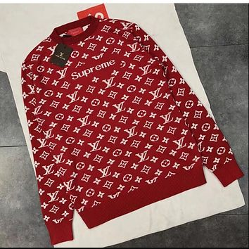 Supreme LV autumn and winter new knit sweater warm solid color couple men and women with the jacket Red