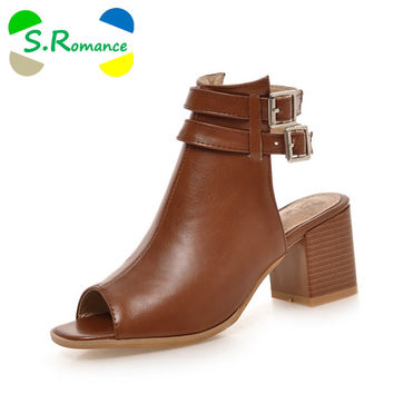 S.Romance Plus Size 34-43 New Fashion Women Sandals Gladiator Mid Squre Heel Casual Woman Shoes Solid Black Beige Brown SS419