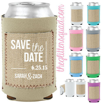 50 x Burlap Koozies with Announcement or Invitation Save the Date Pockets. Pastel Wedding Party Bridesmaids  sweet sixteen favors gifts.