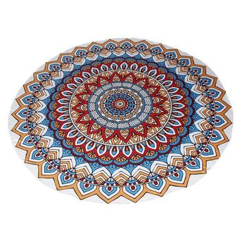 Mandala Round Roundie Beach throw, tapestry Hippy Boho Tablecloth Beach Towel blue With Boho Jewelry Earrings Gift