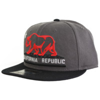 California Republic Embroidered Bear Flag Flat Bill Snapback Hat - Grey/Red