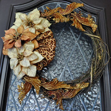 Christmas Wreath, Leopard Wreath, Holiday Wreath, Winter Wreath, Gold Wreath