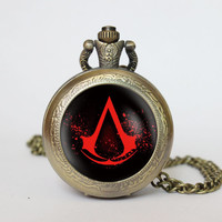 HandmadeAssassin's Creed Symbol pocket watch locket necklace Assassin's Creed Symbol vintage Pendant locket necklace pocket watch