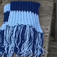 Knitted Scarf - Tenneesee Football Fan Scarf - Light Blue and Dark Blue - Mens Scarf - Womens Scarf