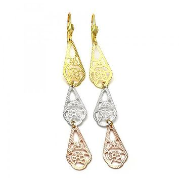 Gold Layered 5.082.004 Long Earring, Flower Design, Diamond Cutting Finish, Tri Tone