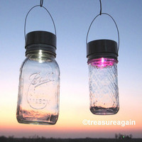 White, Color Mix Solar Lids 2, Rotating Color Glo and Mason Jar White LED Light Combo, DIY Hanging Outdoor Garden Solar Lantern, Lights Only