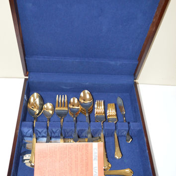 Gold Plated Flatware, Vintage Estia Savoy, Silverware Set, Eating Utensils, Kitchen Gift, Gift for Her, Wooden Box, Storage Box, Utensil Set