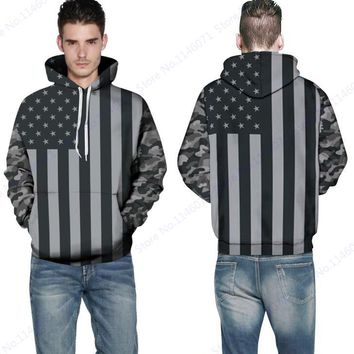 Grey Stripe USA Flag Pullover Sweatshirts Long Sleeves Vintage American Flag Skateboarding Hoodies Mens Spring Autumn Sportwear